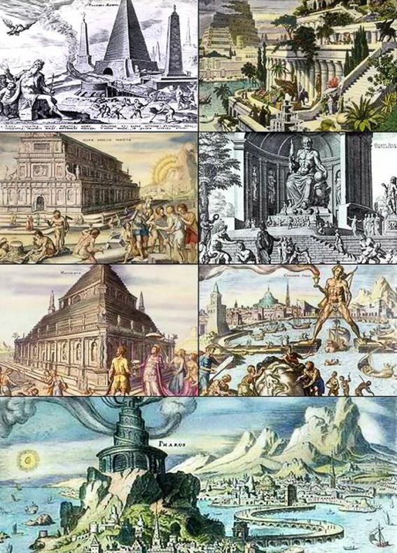 Las Siete Maravillas del Mundo Antiguo, algunas pintadas por Maerten van Heemskrerck.