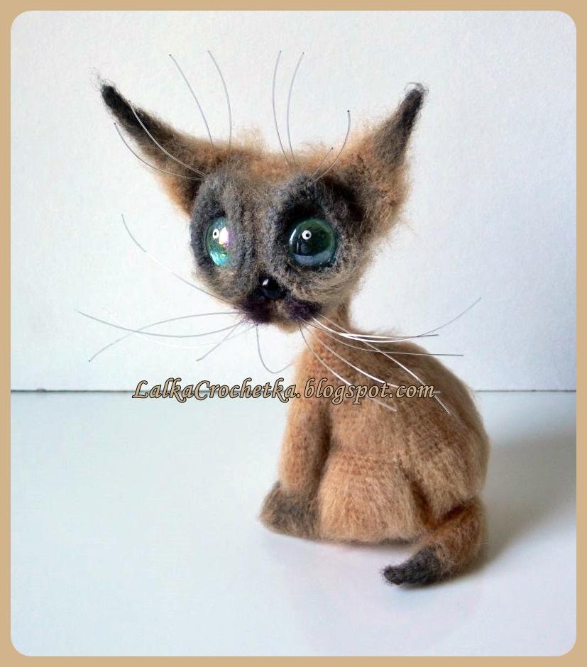 Lalka Crochetka Szydełkowy Kot Syjamski Crochet Siamese Cat