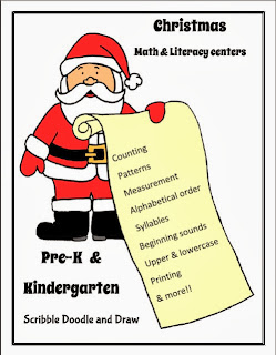 Printable christmas Literacy and math center activities for preschool and kindergarten students