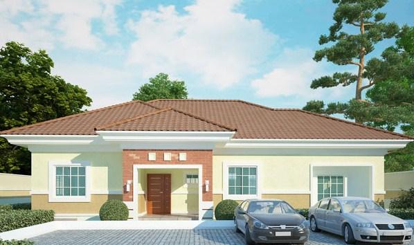 desain rumah Bungalow 1 lantai 4 kamar tidur - desain rumah idaman
