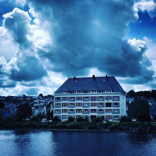 Apartments in front of river odet