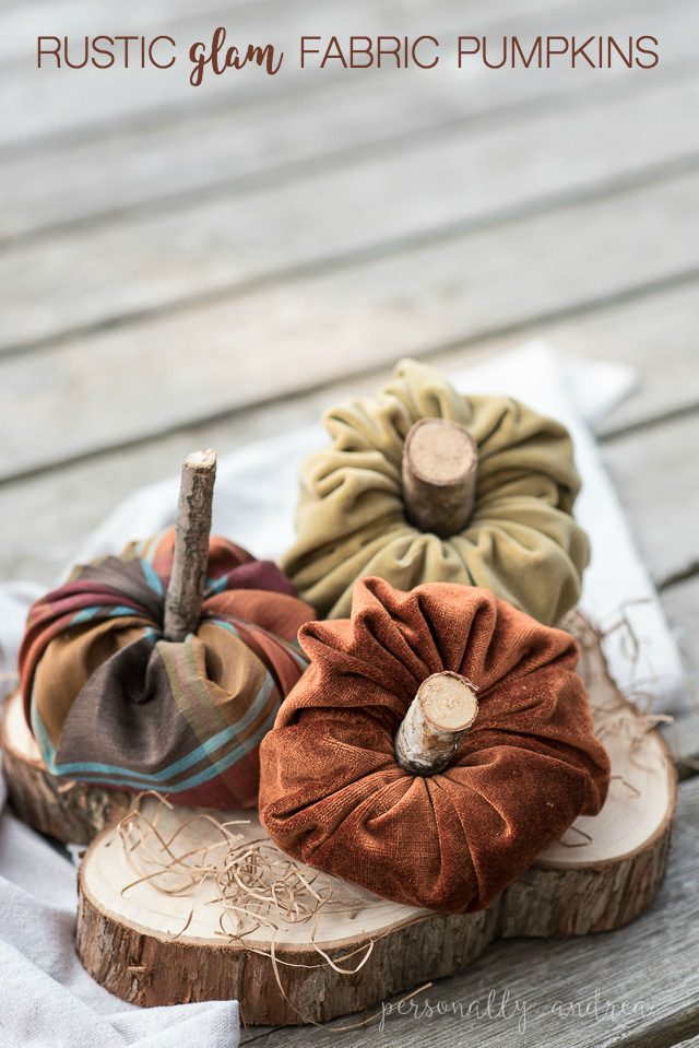 How to make a stuffed fabric mini pumpkin with a rustic glam vibe.| personallyandrea.com