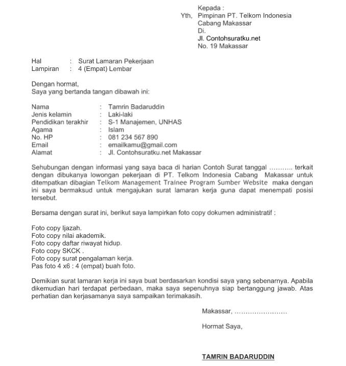 Surat Lamaran Kerja Telkomsel