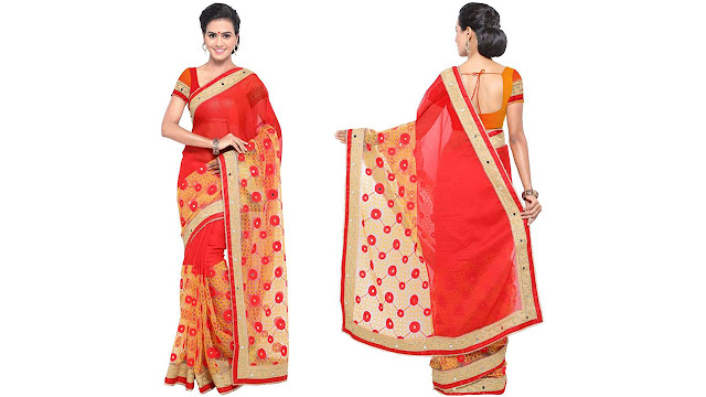 arsh impex Embroidered Fashion Net, Chiffon Saree  (Red, Yellow)