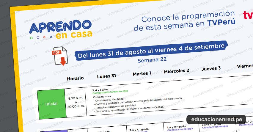 APRENDO EN CASA: Programación del Lunes 31 Agosto al Viernes 4 de Setiembre - TV Perú y Radio (ACTUALIZADO SEMANA 22) www.aprendoencasa.pe