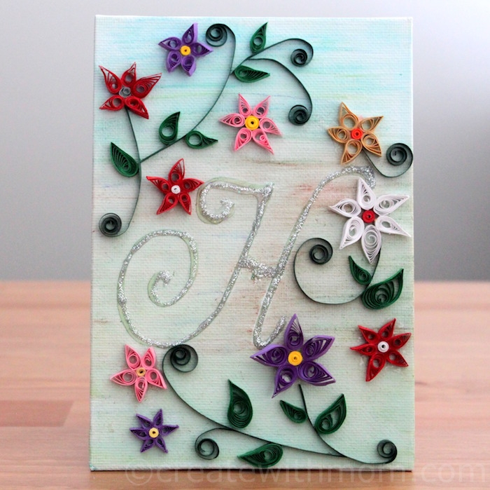Lovely Canvas Wall Art Monogramed Quilled Flowers