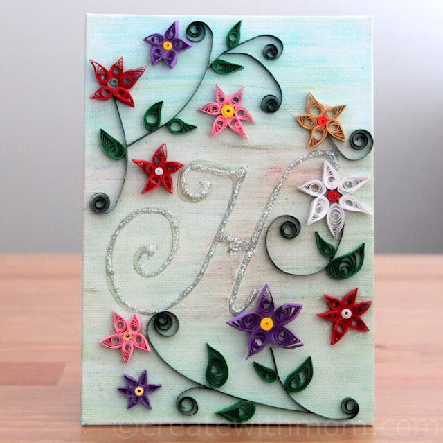 Canvas Wall Art Monogramed Quilled Flowers