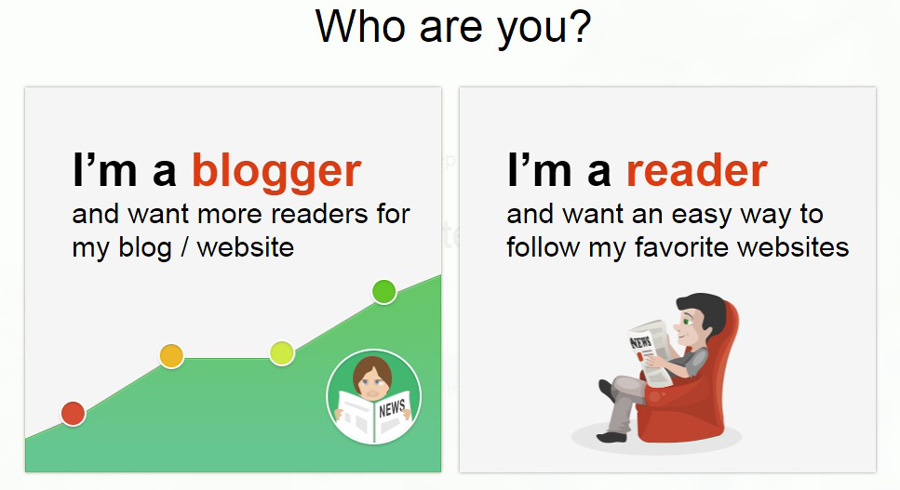 Choose are you a Blogger or Reader