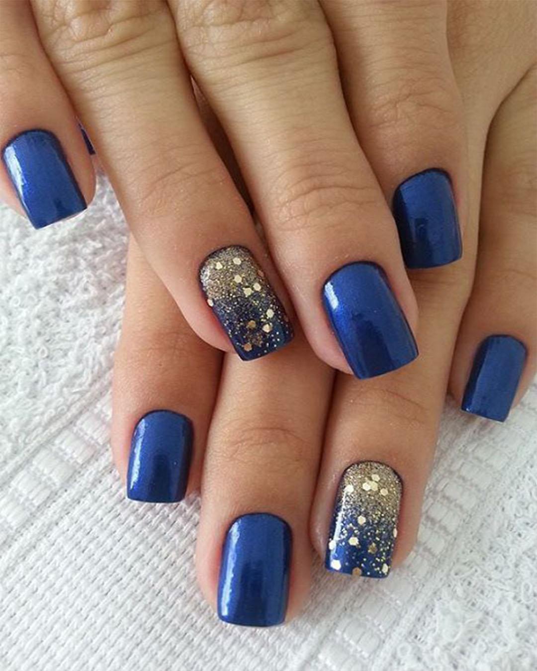 Синий гель лак дизайн ногтей фото