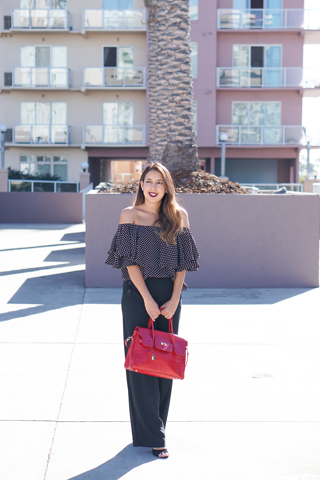 Fashion, SheIn Black Polka Dot Ruffle Off The Shoulder Blouse, How to wear off the shoulder tops, Women's Sailor Pant - Who What Wear x Target, Red top handle crocodile bag, Shoemint Heels, Diva Mac Red Lipstick, Latina Fashion Blogger, LA Fashion Blogger, Long Beach Performing Arts Center