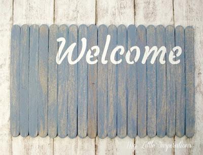Insegna Coastal con stecchi gelato e scritta Welcome - MLI