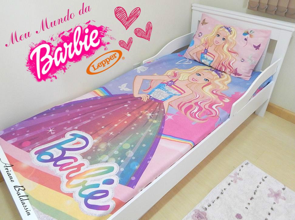10436cc63e Apaixonada por esse jogo de cama solteiro 3 peças da coleção Barbie Reino  do Arco Íris