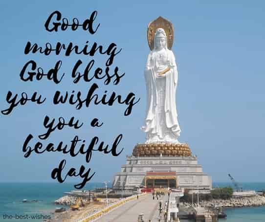 good morning statue buddha religion buddhism