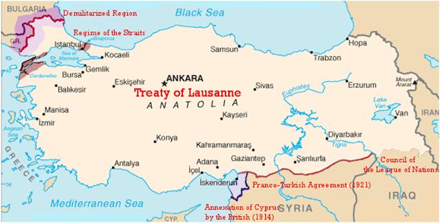 Resultado de imagen de tratado de lausana mapa