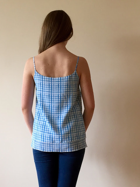 Diary of a Chain Stitcher: Salme Double Layer Cami in Gingham Silk Crepe from Mood Fabrics