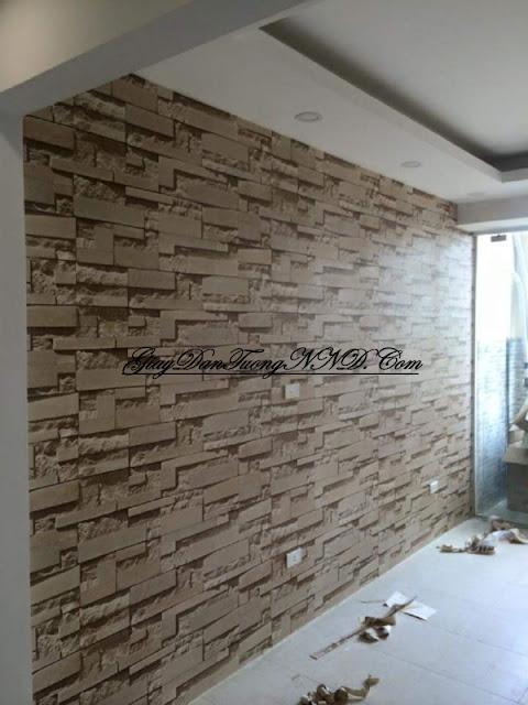 giấy 3D dán tường cho phòng khách hiện đại