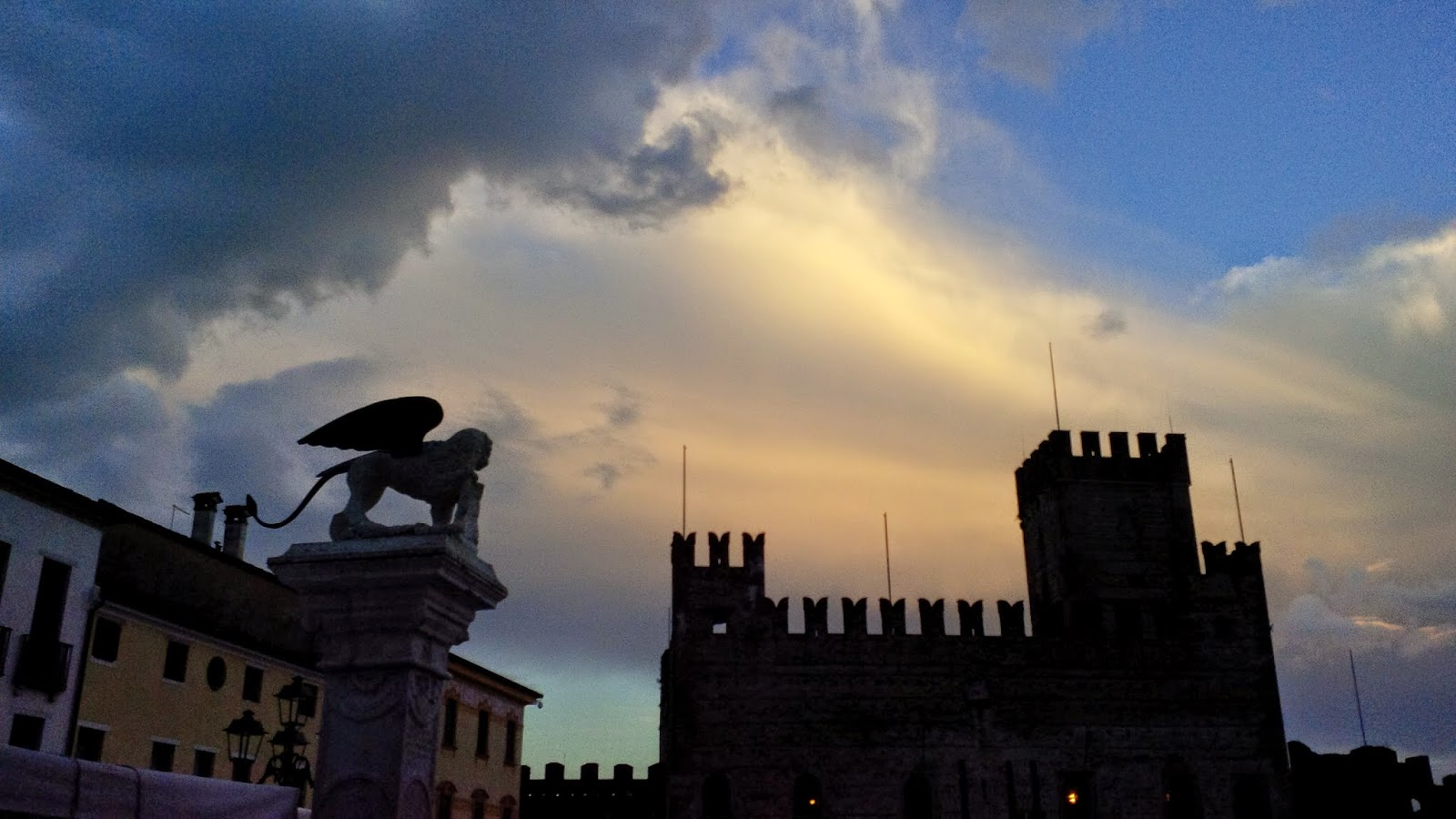 The winged lion and the Lower Castle in Marostica