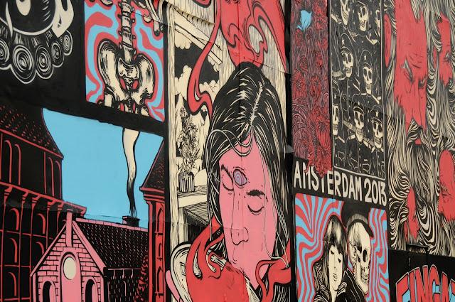 details of street art piece by broken fingaz in amsterdam
