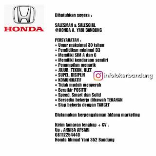 Lowongan Kerja Honda Ahmad Yani Bandung Januari 2018