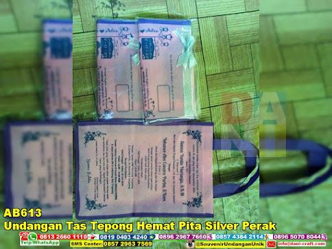 jual Undangan Tas Tepong Hemat Pita Silver Perak