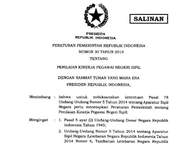 PP Nomor 30 Tahun 2019 tentang Penilaian Kinerja PNS
