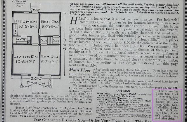 1918 catalog image floor plan of Sears Wayside