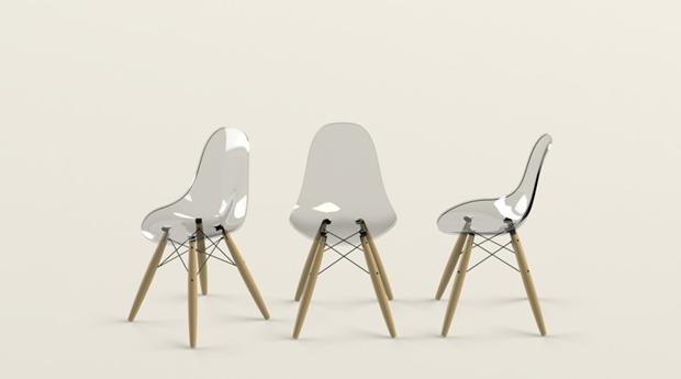 vistas silla eames dsw diseñada con solidworks efecto transparente