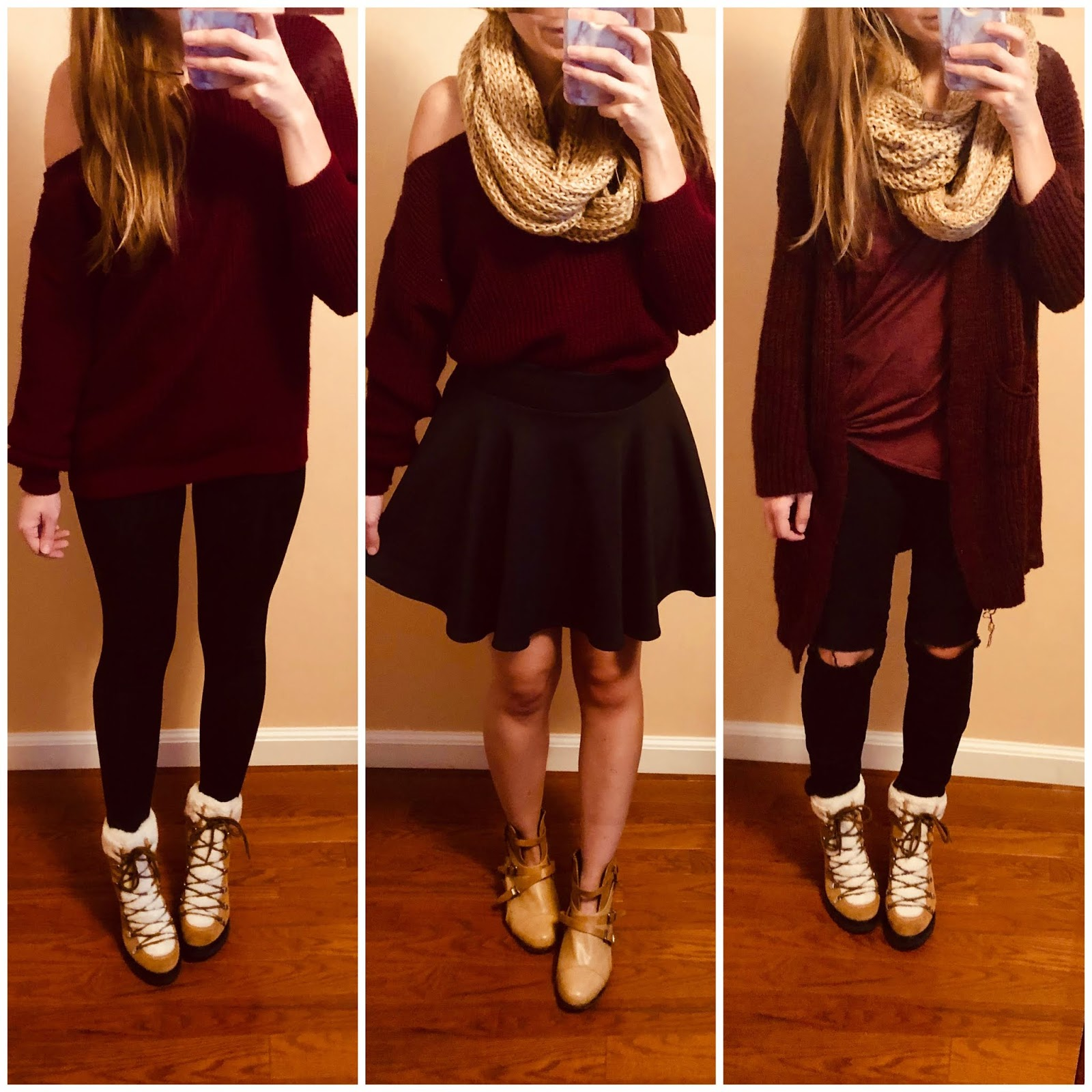 burgundy looks, how to wear burgundy in your outfits, burgundy outfits, what to wear, fall outfits, winter outfits, cozy outfits, booties, love, pretty,