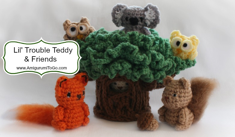 Amigurumi I To Go : Tiny Teddy & Friends With A Tree To Hide In ~ Amigurumi To Go
