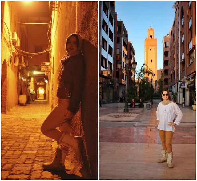 No lado esquerdo, a rua de nosso Riad na Medina. No lado direito, uma típica galeria na parte nova da cidade. Qual você prefere? O exótico ou o confortável?