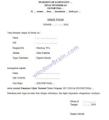 contoh surat tugas pengawasan ujian nasional tahun pelajaran 2017/2018, untuk SD SMP SMA