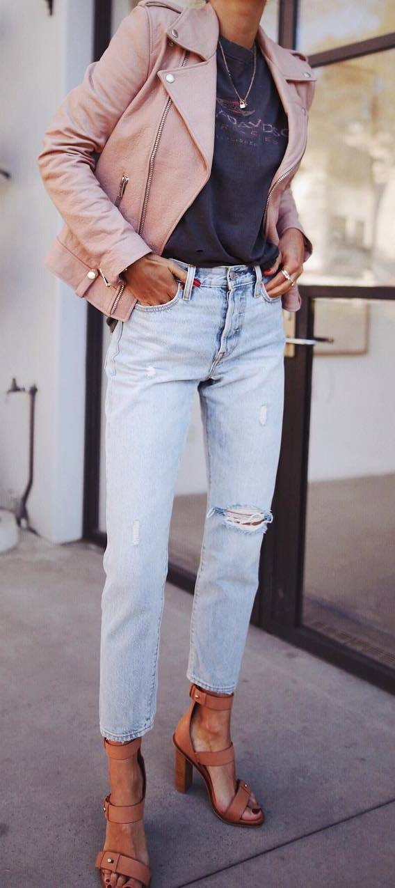 what to wear with a moto jacket : t-shirt + riped jeans + heels
