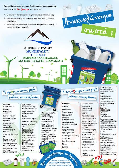 Οδηγίες για την ανακύκλωση απο την δημοτική αρχή Σουλίου