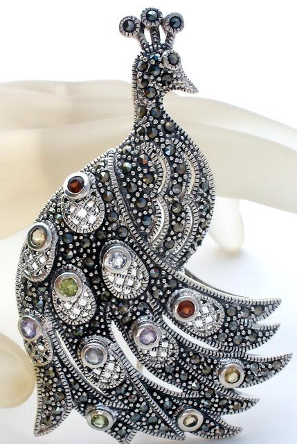 Sterling Silver Peacock Brooch