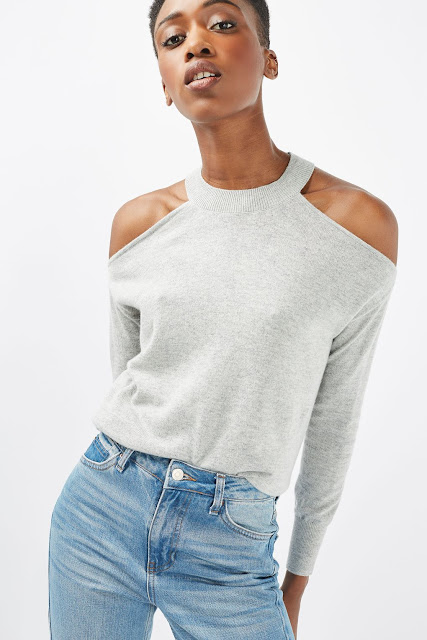 open shoulder grey jumper