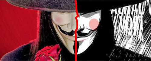 V de Vingança (V for Vendetta) -- imagem do personagem principal usando a famosa máscara sorridente
