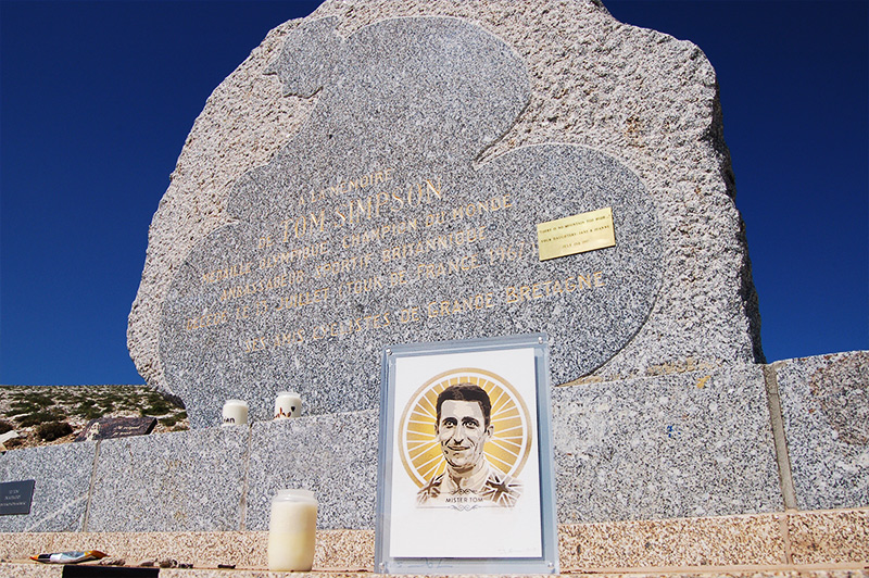 A Tom Simpson Memorial artwork by artist James Straffon, placed on Mont Ventoux by his daughter Joanne
