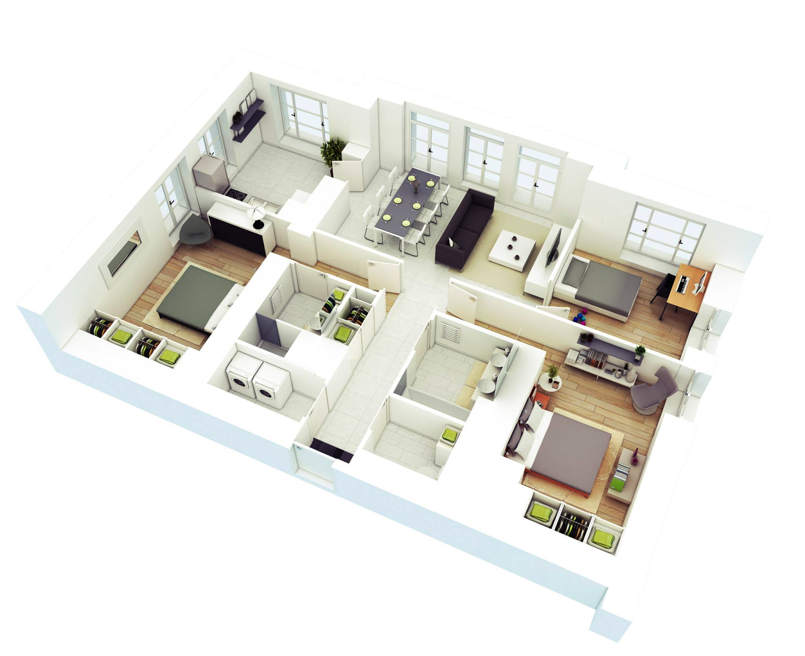 4 three bedroom home - 43+ Floor Plan Small House Design 3 Bedrooms Gif
