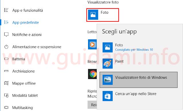Windows 10 cambiare visualizzatore foto
