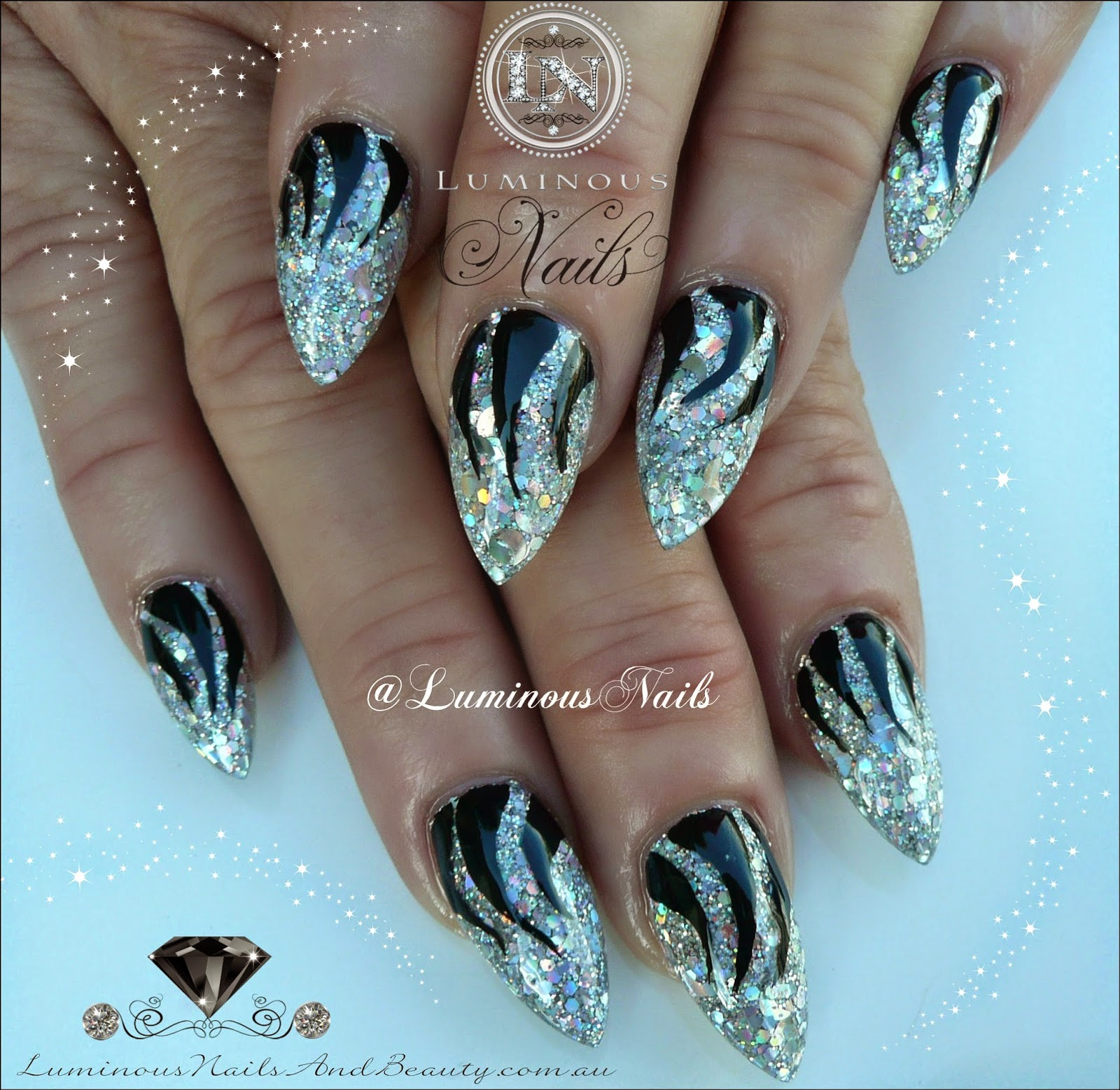 silver and black nail art designs