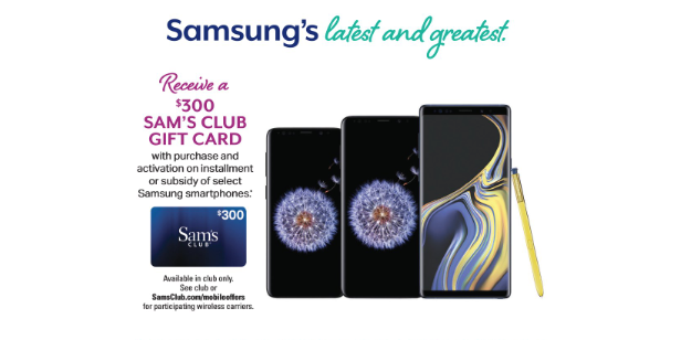 Sam's Club offering great deals on Samsung Galaxy Note 9, Galaxy S9+ and Galaxy S9 on December 15