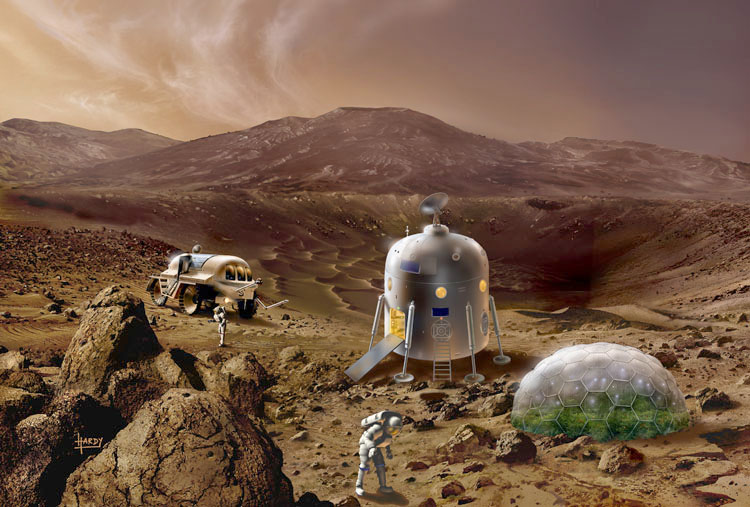 Retro style Mars base, greenhouse and rover by David A. Hardy