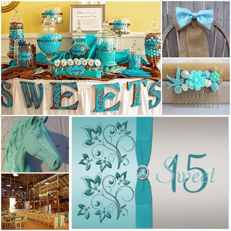 Aqua blue country western sweet fifteen quinceanera theme