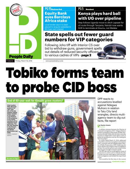 18th March: Headlines Across Top Kenyan Newspapers!
