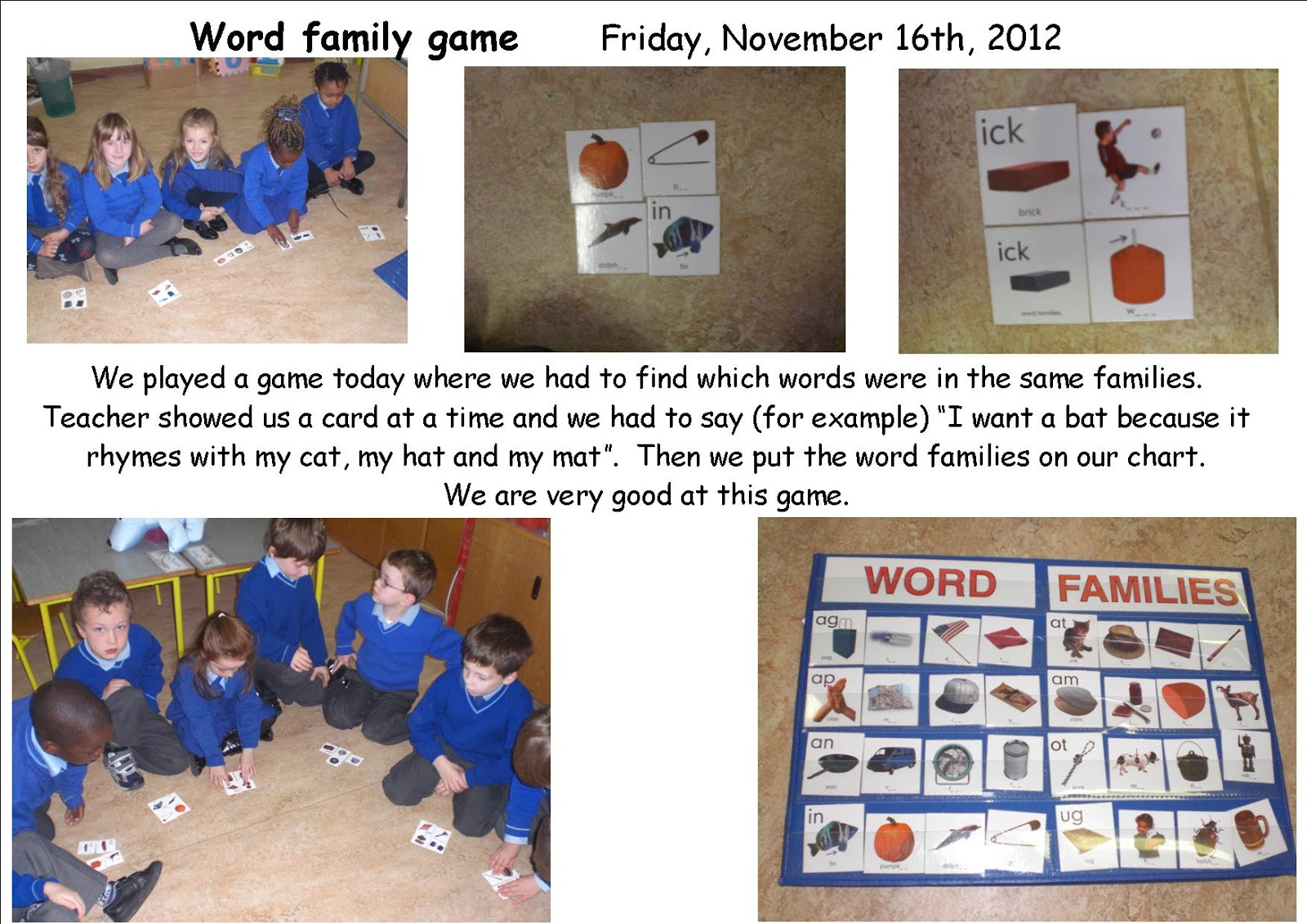 Literacy Site Word Families Game