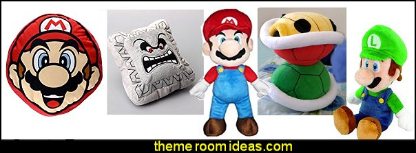 Super Mario Bros plush pillow toys  Gamer bedroom - Video game room decor - gamer bedroom furniture - gamer wall decal stickers - Super Mario Brothers Wall Stickers - gamer bedding - Super Mario Brothers bedding - Pacman decor -  Retro Arcade bedrooms - 80s video gamers - gamer throw pllows