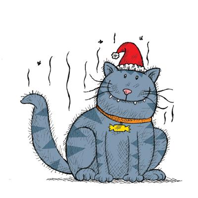 Illustration of stinky Santa's stinky cat, Tiddles