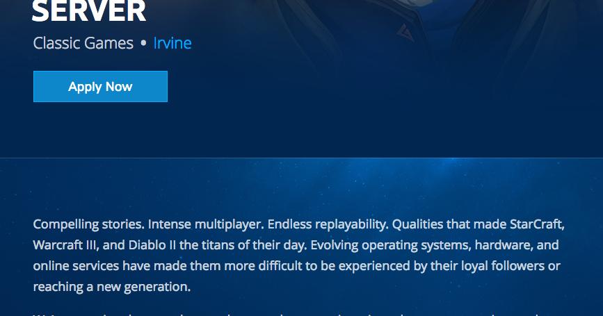 Blizzard Senior Software Server Engineer (Classic Games