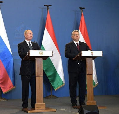 Vladimir Putin and Viktor Orban. Hungary.
