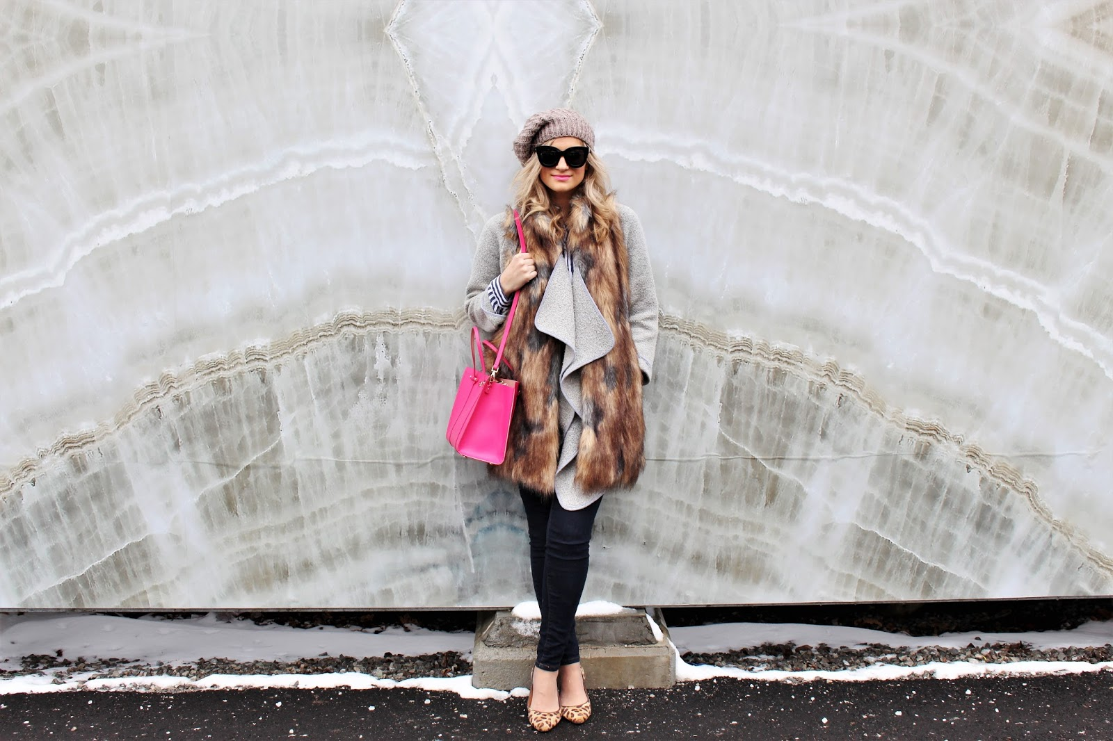 Bijuleni- Layering an outfit in winter. Faux Fur Vest, Grey Cardi, Skinny Jeans,, Kate Spade Tote, Leopard flats